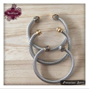 Jewelry - Set of 3 two-tone Twist Cable Cuff Bracelets